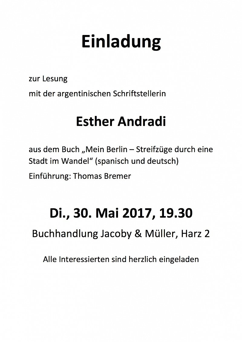 Lesung Esther Andradi am 30.5.2017